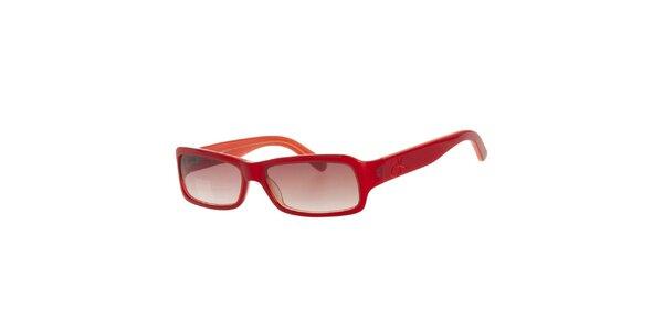 Dámske červené slnečné okuliare s mahagonovými sklami Calvin Klein