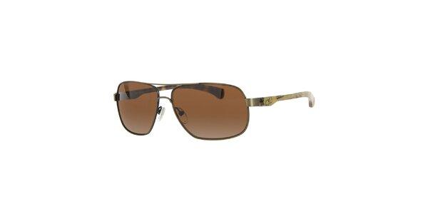 Pánske kovové slnečné okuliare s hnedými sklíčkami Calvin Klein Jeans