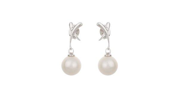 Dámske biele perlové náušnice Orchira