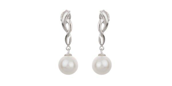 Dámske biele visiace perlové náušnice Orchira