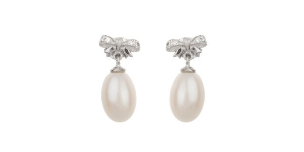 Dámske biele perlové náušnice Orchira s mašličkou
