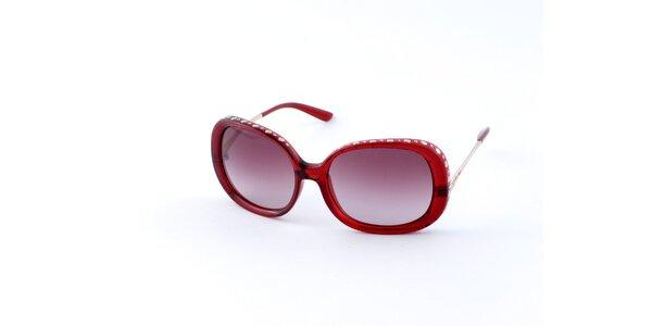 Dámske červené slnečné okuliare Guess s kovovými cvokmi