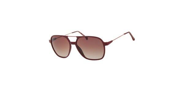 Dámske tmavo červené slnečné okuliare Calvin Klein Jeans s kovovými detailmi a…