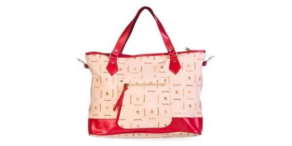 Dámska červená kabelka so vzorom Marsanpiel