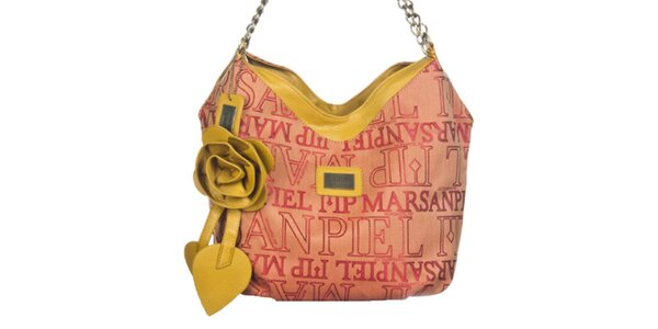 Dámska potlačená kabelka s dekoratívnou ružou Marsanpiel