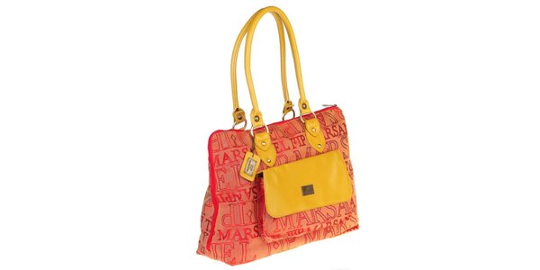 Dámska kabelka s potlačou a žltými prvkami Marsanpiel