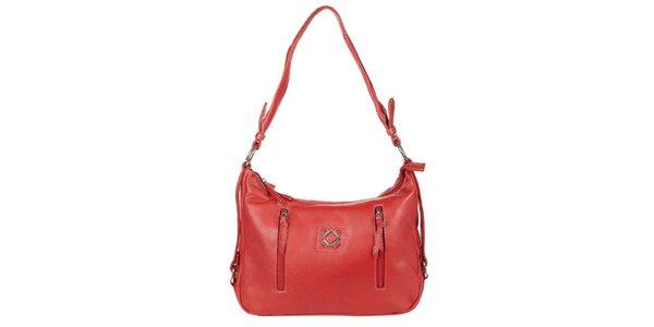 Dámska červená kabelka s vonkajšími zipsmi Marsanpiel