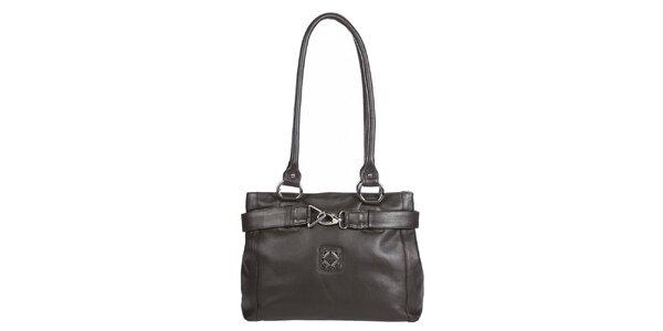Dámska tmavo hnedá kabelka s ozdobnou karabínkou Marsanpiel