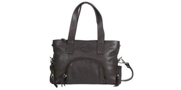 Dámska tmavo hnedá kabelka s dvomi ušami Marsanpiel