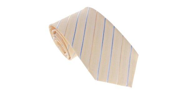 Pánska žltá kravata s prúžkom Marsanpiel