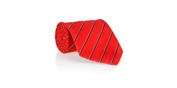 Pánska červená kravata s prúžkom Marsanpiel