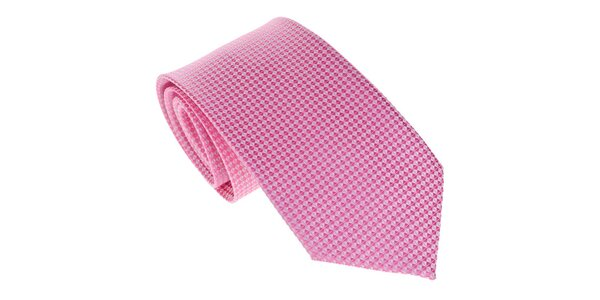 Pánska ružová kravata s jemným vzorom Marsanpiel