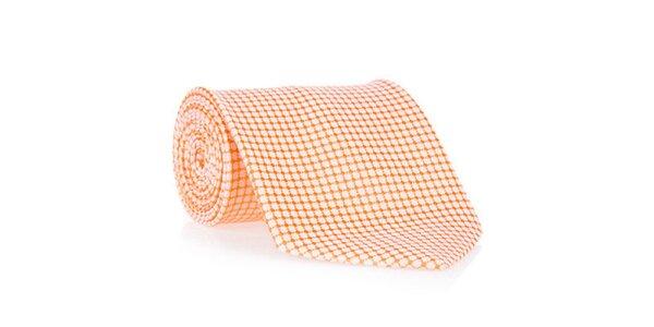 Pánska oranžová kravata so vzorom Marsanpiel
