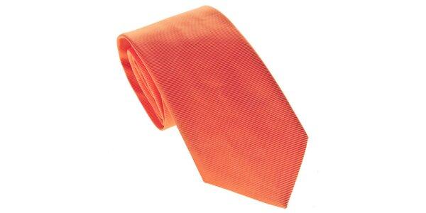 Pánska oranžová kravata s prúžkami Marsanpiel