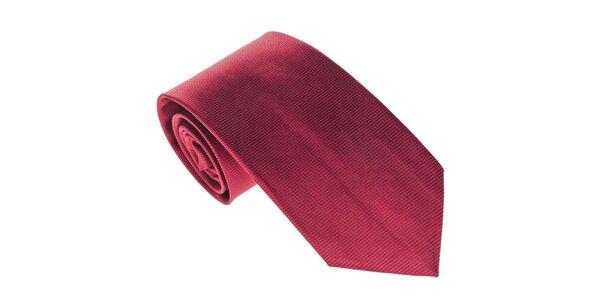 Pánska červená kravata s prúžkami Marsanpiel