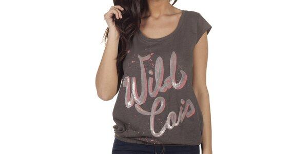 Dámske šedé tričko s transparentným chrbtom Lois