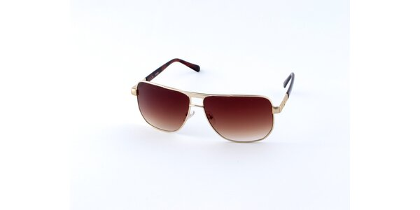 Pánske zlato-hnedé slnečné okuliare Guess