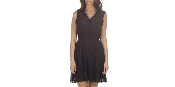 Dámske čierne transparentné šaty bez rukávov Lois
