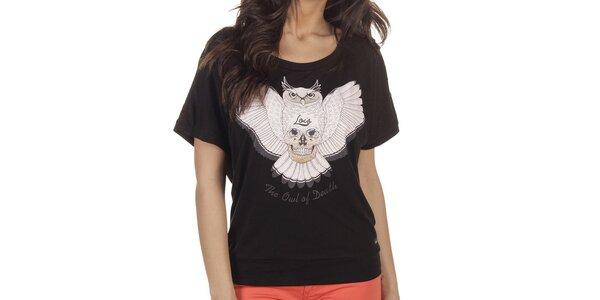 Dámske čierne tričko so sovou Lois