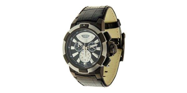 Pánske čierne oceľové hodinky Cerruti 1881 s čiernym koženým remienkom