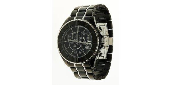 Pánske čierne oceľové hodinky Cerruti 1881 so striebornými detailami