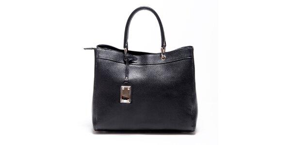 Dámska čierna kožená kabelka Carla Ferreri