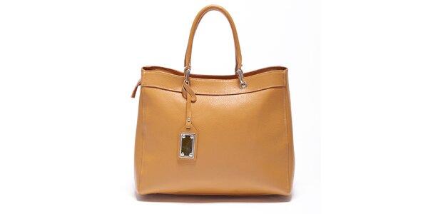 Dámska koňaková kožená kabelka Carla Ferreri