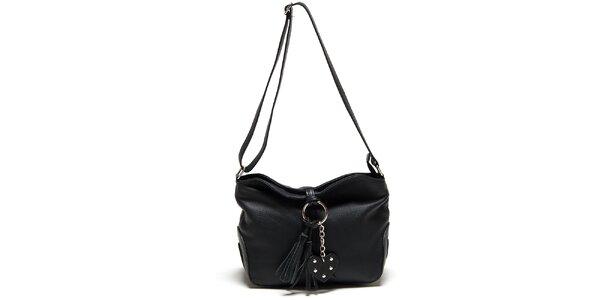 Dámska čierna kabelka so strapcom Carla Ferreri