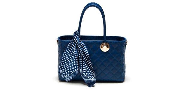 Dámska modrá kabelka so šatkou Carla Ferreri