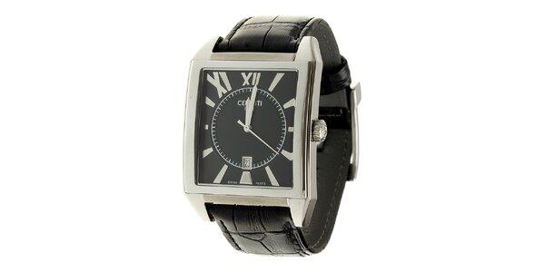 Pánske oceľové hodinky Cerruti 1881 s čiernym koženým remienkom