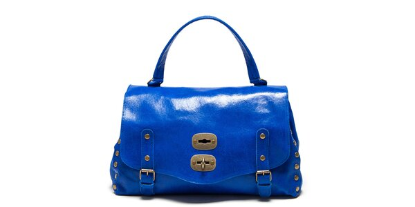 Dámska modrá kabelka s prackami a cvokmi Carla Ferreri