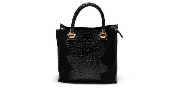 Dámska čierna kabelka s krokodílim vzorom Carla Ferreri