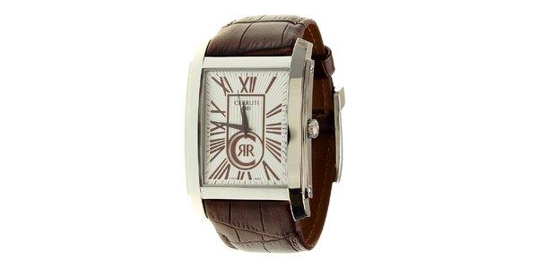 Pánske oceľové hodinky Cerruti 1881 s hnedým koženým remienkom