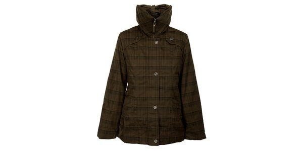 Dámska khaki zimná bunda Bushman s kockovanou potlačou