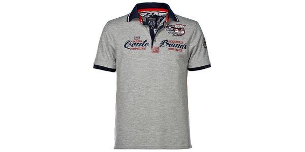 Pánske šedé polo tričko s výšivkou M. Conte