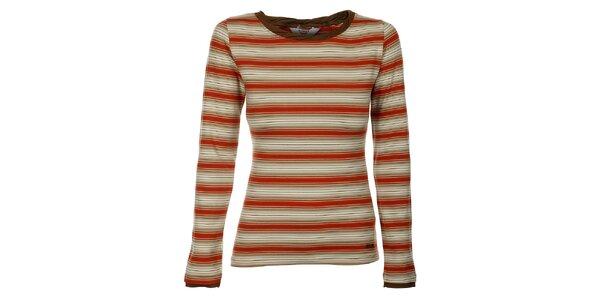 Dámske béžovo-oranžové prúžkované tričko Bushman