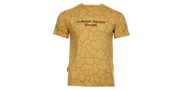 Pánske béžové tričko Bushman s potlačou
