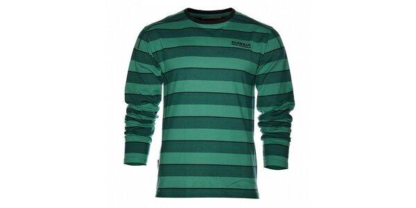Pánske tmavo zelené prúžkované tričko Bushman s dlhým rukávom