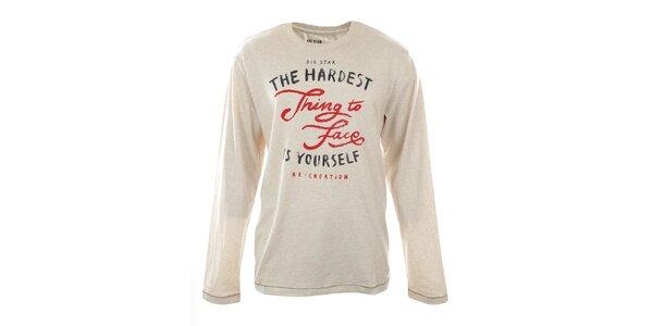 Pánske béžovo melírované tričko s nápisom Big Star