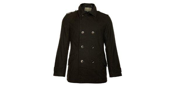 Pánsky zimný čierny dvojradový kabát Bushman