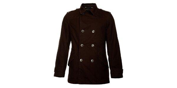 Pánsky zimný tmavo hnedý dvojradový kabát Bushman