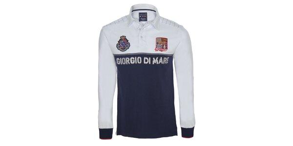 Pánske modro-biele polo tričko s dlhými rukávmi Giorgio di Mare