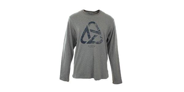Pánske šedé tričko s dlhým rukávom a potlačou Big Star