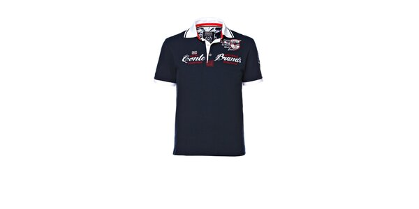 Pánske tmavo modré polo tričko s výšivkou M. Conte