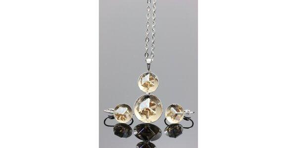 Dámska sada šperkov - guľaté náušnice a náhrdelník Swarovski