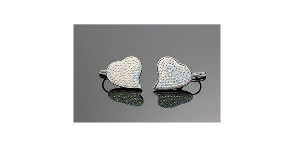 Dámske srdiečkové náušnice s farebnými kryštálmi Swarovski