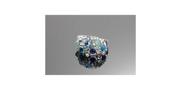 Dámsky prsteň s modrými kryštálmi Swarovski