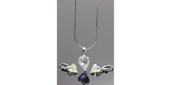 Dámska sada šperkov - srdcové náušnice a náhrdelník Swarovski