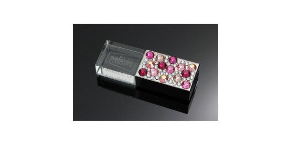 8GB USB s ružovými Swarovski kryštály