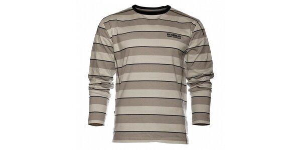 Pánske šedé prúžkované tričko Bushman s dlhým rukávom